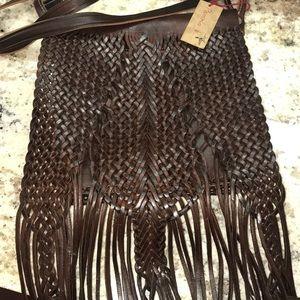 Pamela V woven leather fringe bag